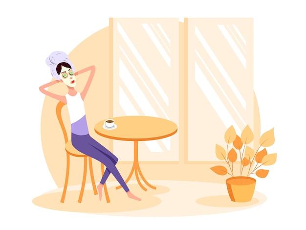 Mulher sentada com uma toalha na cabeça e com máscara no rosto e bebe café. ilustração dos desenhos animados do vetor de cor. fique em casa.