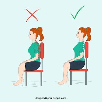 Mulher sentada corretamente e incorretamente