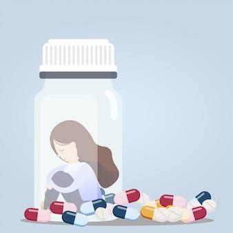 Mulher sentada em frascos de comprimidos.