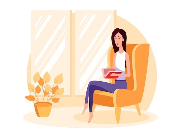 Mulher sentada em uma cadeira e lendo um livro. ilustração dos desenhos animados do vetor de cor. fique em casa.