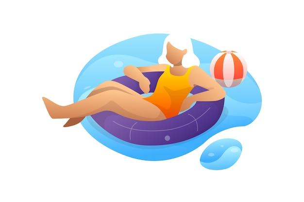 Mulher sentada na boia na piscina