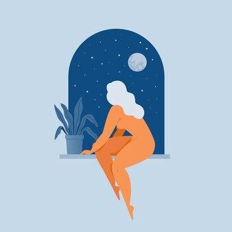 Mulher sentada na janela.