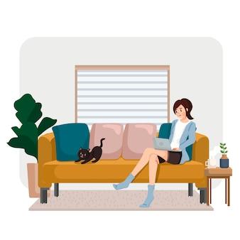 Mulher sentada no sofá com a testa e internet relaxando em casa ilustração