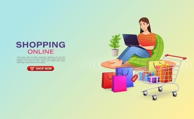 Mulher sentada no sofá fazendo compras na loja online com um laptop