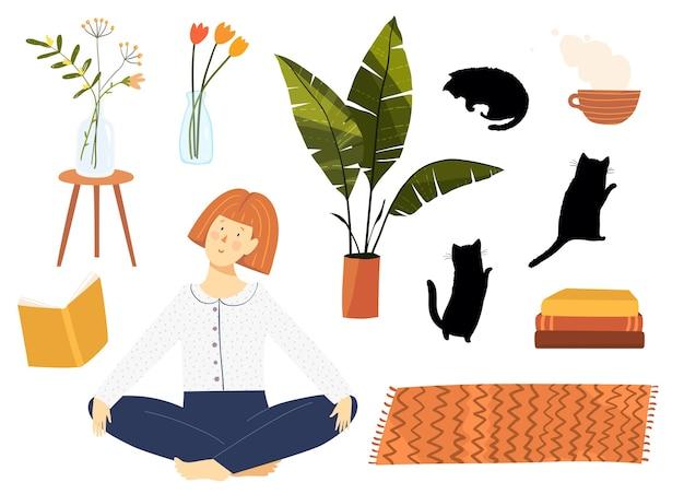 Mulher sentada personagem com livros, plantas, flores e objetos de clipart de móveis para casa