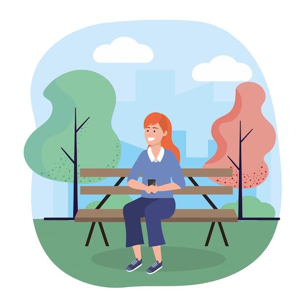 Mulher, sentando, em, a, cadeira, com, smartphone, tecnologia