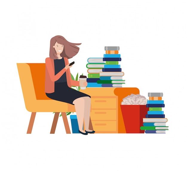 Mulher, sentando, em, a, trabalho, escritório