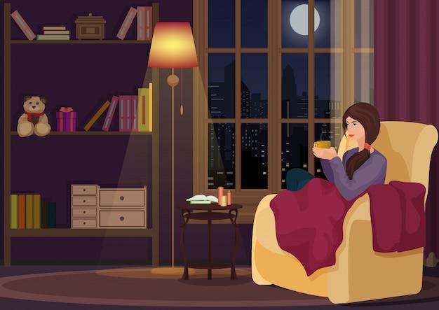 Mulher, sentando, em, sala de estar, e, café bebendo