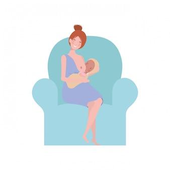 Mulher, sentando, ligado, sofá, com, um, bebê recém-nascido, em, dela, braços
