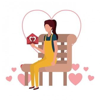 Mulher, sentando, parque, cadeira, corações, personagem