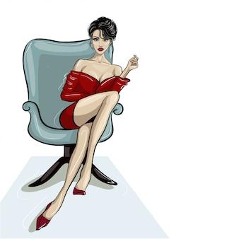 Mulher, sentando, poltrona, segurando, mão