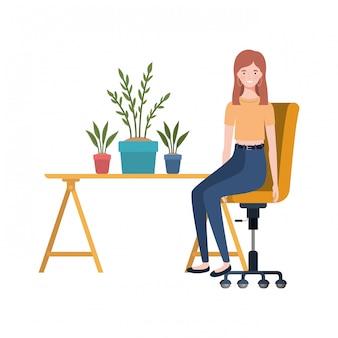 Mulher, sentando, trabalho, escritório, branca