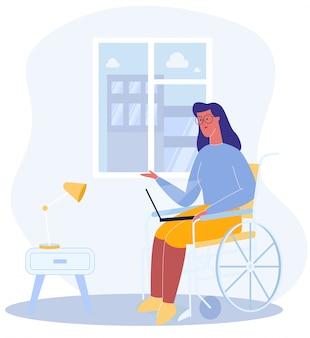 Mulher sente-se cadeira de rodas com notebook hospital ward