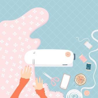 Mulher, sewing, ligado, um, máquina de costura
