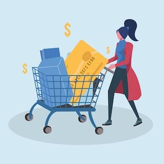 Mulher shoping com carrinho de cartão de crédito