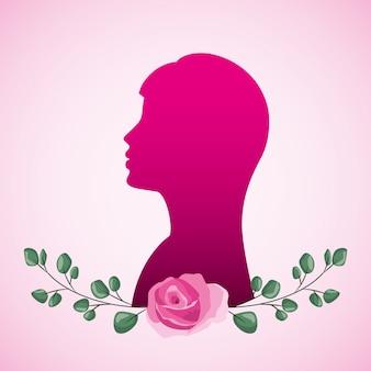 Mulher, silueta, e, flores