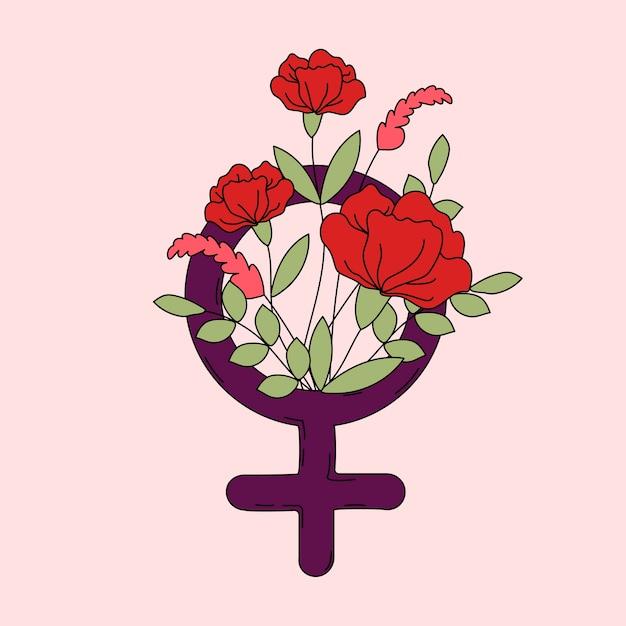 Mulher, símbolo, com, flores, e, folhas, vetorial