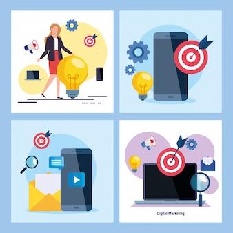 Mulher smartphones e laptop com conjunto de ícones de marketing digital