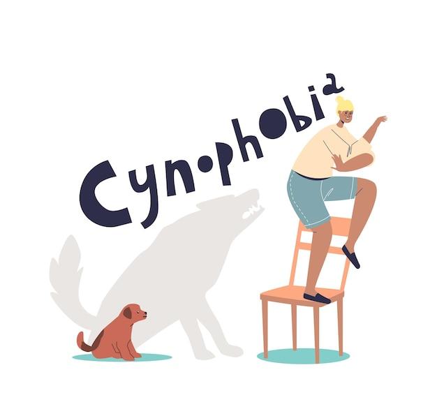 Mulher sofrendo de cinofobia, medo de cachorros