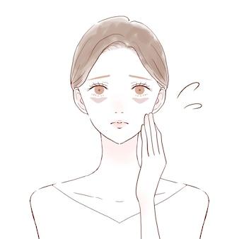 Mulher sofrendo de urso sob os olhos devido à falta de sangue. sobre um fundo branco. estilo de arte bonito e simples.