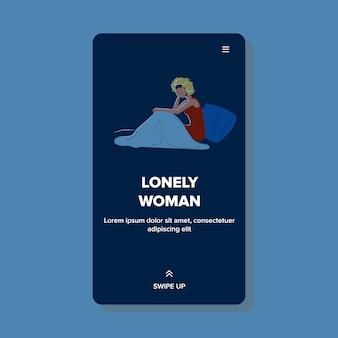 Mulher solitária sentada na cama e estressada