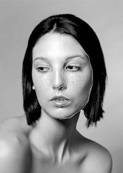 Mulher sonhadora com linhas no rosto