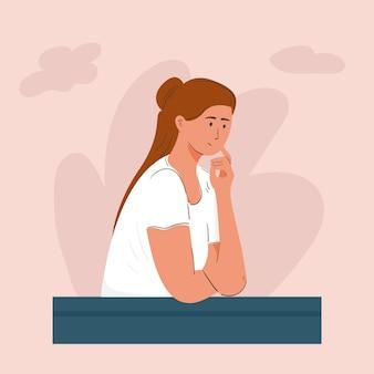 Mulher sonhando acordada, planejando e procurando inspiração