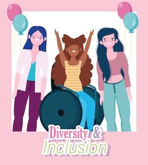 Mulher sorridente com deficiência sentada em uma cadeira de rodas, diversas meninas juntas, ilustração de inclusão