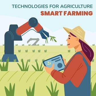 Mulher sorridente controla uma mão robótica eletrônica para colher safras no campo por meio de aplicação ...