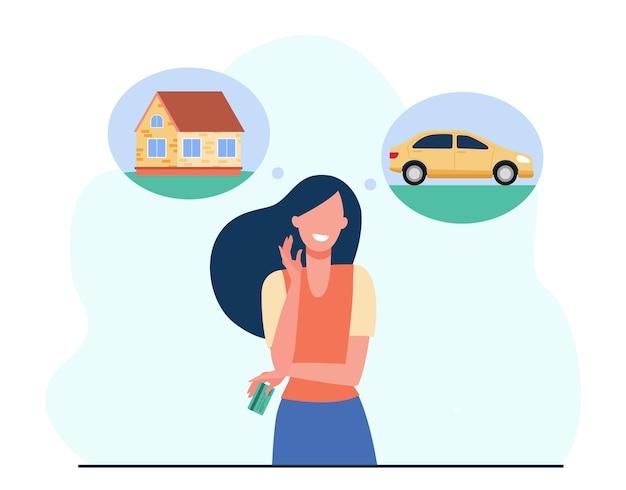 Mulher sorridente escolhendo entre carro e casa