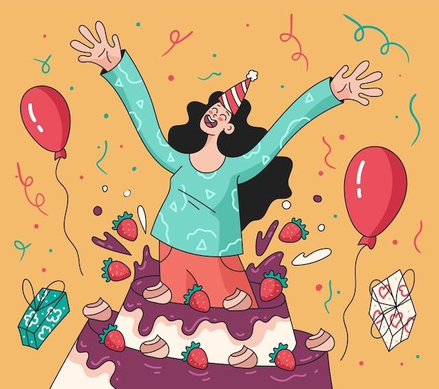 Mulher sorridente feliz pulando de um bolo grande