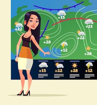 Mulher sorridente feliz repórter meteorológico personagem plana cartoon ilustração