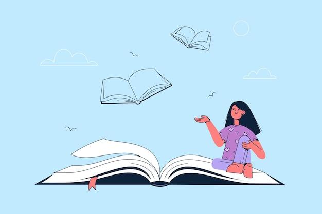 Mulher sorridente, personagem de desenho animado sentada na página do livro aberto, significando a ideia moral do autor e a ilustração da mensagem de informação oculta