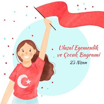 Mulher sorridente segurando a bandeira vermelha da soberania nacional