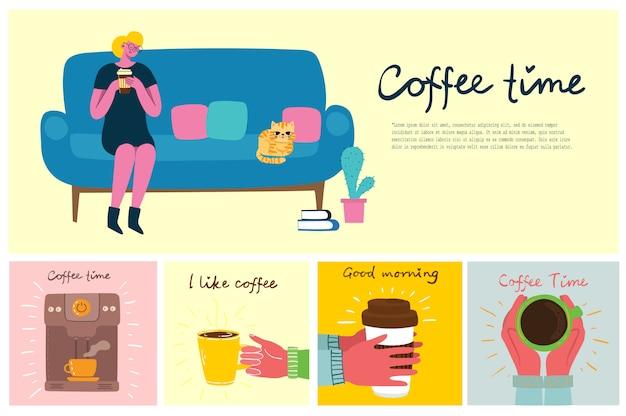 Mulher sorridente tomando café. cartões de conceito de hora do café, pausa e relaxamento. ilustração em estilo design plano