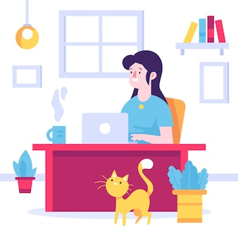 Mulher sorridente, trabalhando em casa e gato