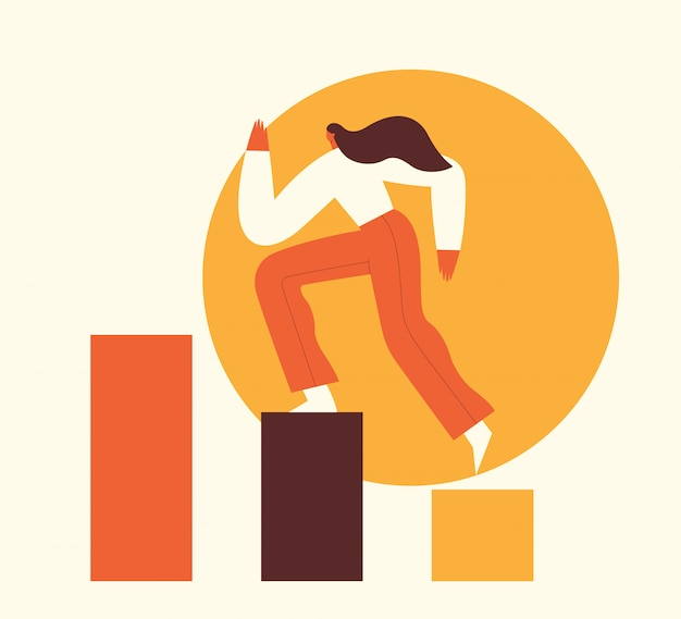 Mulher subindo os degraus para o sucesso. conceito de motivação, crescimento na carreira, liderança, negócios. ilustração plana.