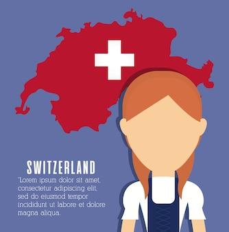 Mulher suíça e ícone de mapa do país suíço