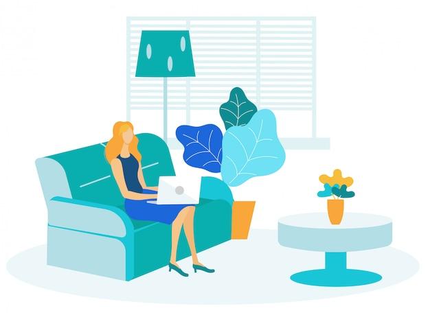Mulher, surfando, internet, apartamento