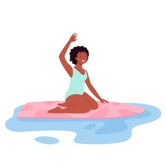 Mulher surfista feliz de biquíni surfando no verão praia ilustração vetorial personagem de menina jovem