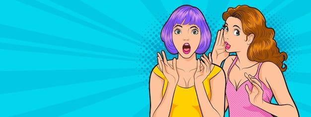 Mulher surpresa, olhos e boca bem abertos e mãos levantadas gritando fundo estilo cômico pop art