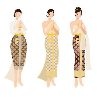 Mulher tailandesa no vestido de casamento tradicional bonito pagar o respeito