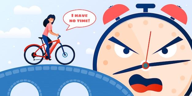 Mulher tardia, andar de bicicleta e gritar com despertador