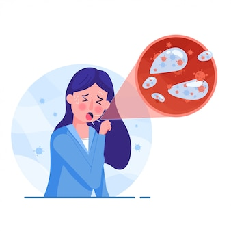Mulher tem tosse com sintomas. saliva pandêmica tem vírus corona em estilo simples. vírus corona mundial e conceito de ataque covid-19.