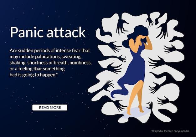 Mulher, tendo, pânico, ataque, desordem, público, lugar