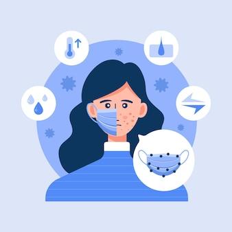 Mulher tendo problemas com acne causados por máscara facial