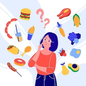 Mulher tentando escolher uma categoria de comida