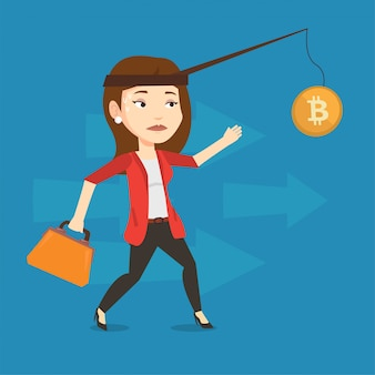 Mulher tentando pegar bitcoin na vara de pesca.