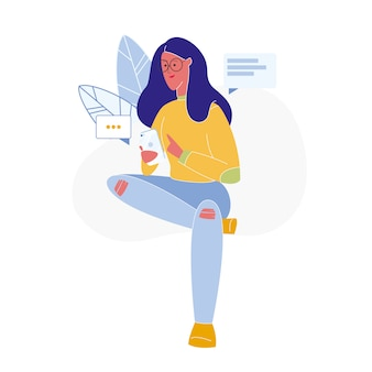 Mulher, texting, online, apartamento, vetorial, ilustração
