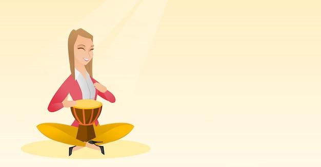 Mulher, tocando, a, étnico, tambor